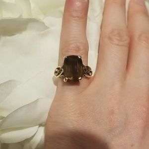2/$12 Lia Sophia | brown and gold ring